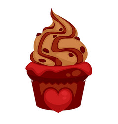 sweet chocolate cupcake with red heard and caramel vector image