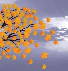 -autumn maple tree against a cloudy sky vector