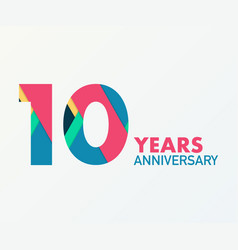 10 years anniversary emblem anniversary icon or vector