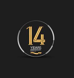 14 years golden anniversary logotype golden vector