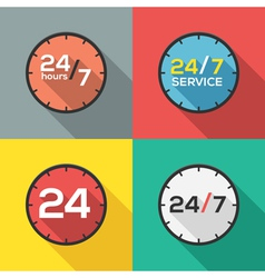 24 hours a day and 7 days a week flat icon clock vector
