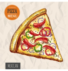 A slice of mexican pizza vector image