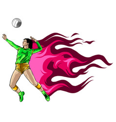 Abstract female volleyball player fire power vector