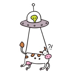 alien cow abduction vector image