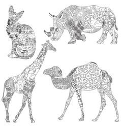 Animals in ethnic patterns vector