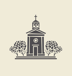 architectural icon of the bell tower with trees vector image