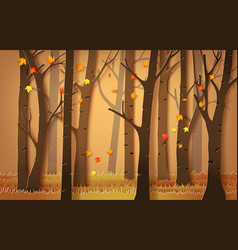 Autumnal forest with falling maple leaves vector