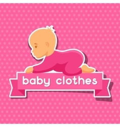 Background with sticker baby clothes for newborns vector