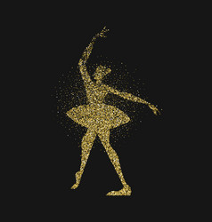Ballet dancer girl gold glitter splash background vector