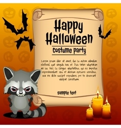 Banner happy Halloween and angry raccoon vector image vector image
