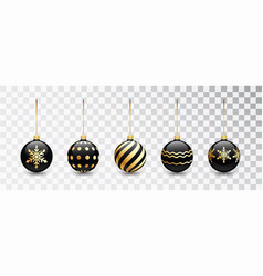 black christmas tree toy set isolated on white vector image