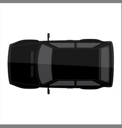 black retro car top view isolated on white vector image