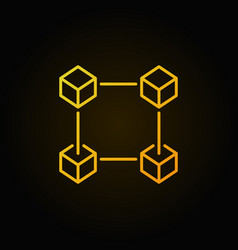 Block chain yellow icon crypto currency and vector