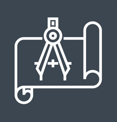 blueprint with compass vector image