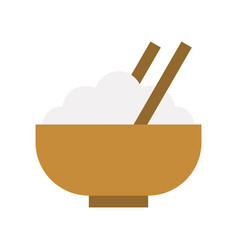 Bowl rice and chopstick food and gastronomy vector