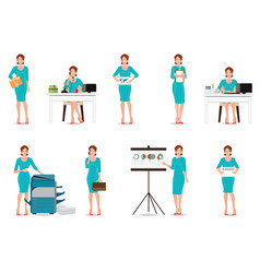 Business working women in smart suit isolated on vector