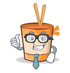 Businessman cup noodles character cartoon vector