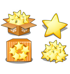 cardboard box with yellow stars isolated on white vector image