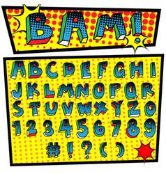 Cartoon font pop art style vector