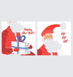 christmas greeting card with santa claus cartoon vector image