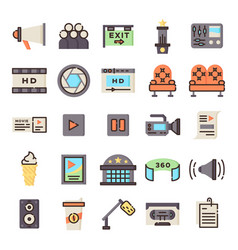cinema icons pack vector image