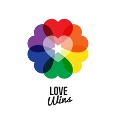 Circle shape rainbow six color heart logo with vector