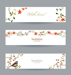 collection cards with foliate ornament and flowers vector image