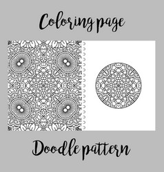 Coloring page design with doodle pattern vector
