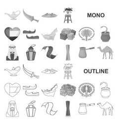Country united arab emirates monochrom icons in vector