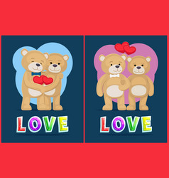 couple teddy bears love theme placard vector image