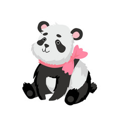 Cute baby panda bear with pink bow on his neck vector
