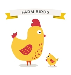 Cute cartoon chicken mother and chuk kid vector image