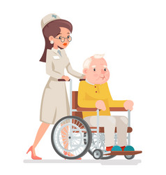 Cute doctor attendant nurse elderly caring vector