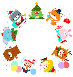 cute kids and animal in christmas costumes vector image