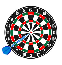 Dartboard with small missile arrow in goal vector