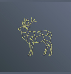 Deer polygon golden silhouette on gray background vector