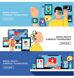 digital health flat banners set vector image