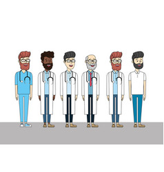 Doctors with stethoscope medial diagnosis and man vector