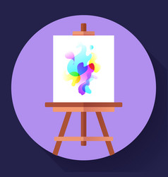 Draw easel icon with canvas flat art icon vector