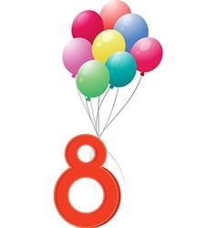 Eight colourful balloons vector