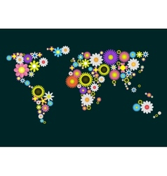 Flower World Map vector image