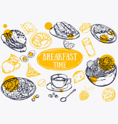 food breakfast brochure vector image