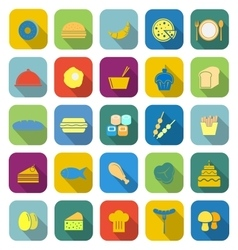 Food color icons with long shadow vector