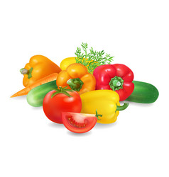 Fresh realistic group of vegetables healthy food vector