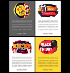 friday sale promo labels black balloon vector image