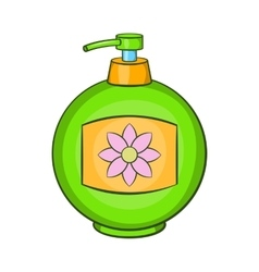 Green plastic bottle of liquid soap icon vector