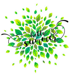 green watercolor summer leaves with hello summer vector image