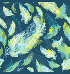 greenery romantic feather pattern vector image
