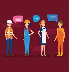 Group of workers talking characters vector