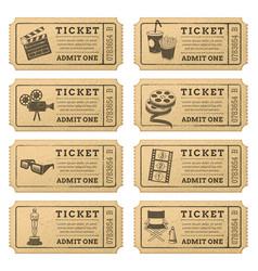 grunge cinema tickets vector image